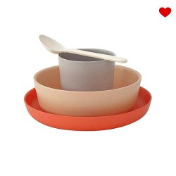 Kinderservies Eetset Bamboe 4-delig | Terracotta
