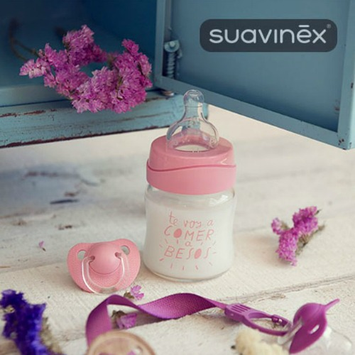 Babyfles glas Suavinex 110ml Meaningful Life Roze