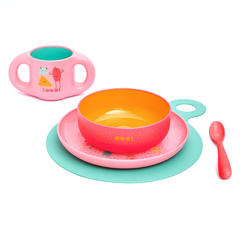 Kinderservies set Suavinex Roze Booo