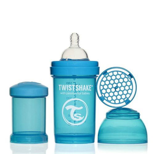 Babyfles antikoliek Twistshake Blauw 180ml | 3-dlg
